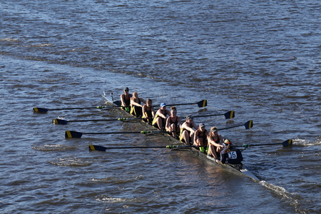 BOSTON - OCTOBER 23, 2016: Simmons races in the Head of Charles Regatta Womens Collegiate Eights Editorial