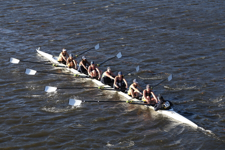 BOSTON - OCTOBER 23, 2016: Smith College races in the Head of Charles Regatta Womens Collegiate Eights