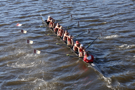 BOSTON - OCTOBER 23, 2016: WPI races in the Head of Charles Regatta Womens Collegiate Eights