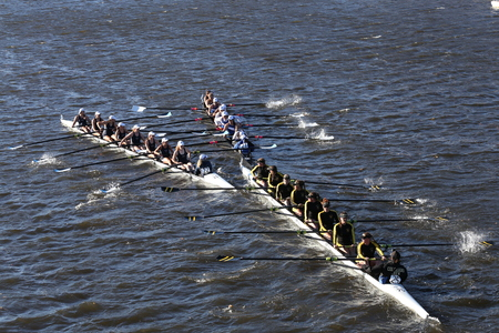 eights: BOSTON - OCTOBER 23, 2016: SUNY Geneseo (left) JWU Rowing (right) and Colorado (bottom) get tangled in the Head of Charles Regatta Womens Collegiate Eights