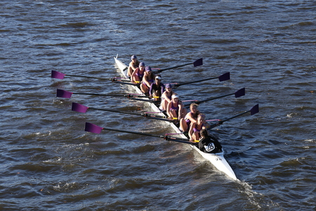 BOSTON - OCTOBER 23, 2016: Amherst races in the Head of Charles Regatta Womens Collegiate Eights Editorial