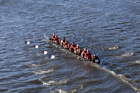 eights: BOSTON - OCTOBER 18, 2015: WPI races in the Head of Charles Regatta Mens Master Eights