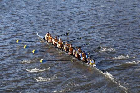 BOSTON - OCTOBER 18, 2015: UC Santa Barbara races in the Head of Charles Regatta Mens Master Eights