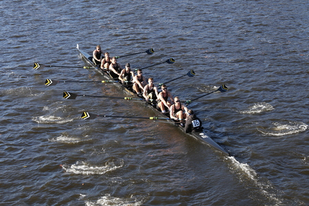 BOSTON - OCTOBER 22, 2016: West Point Military Academy races in the Head of Charles Regatta Mens College Eights