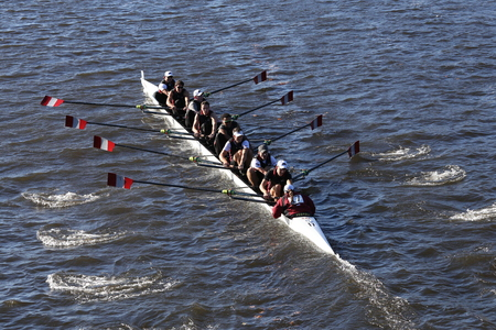 BOSTON - OCTOBER 22, 2016: St. Josephs races in the Head of Charles Regatta Mens College Eights