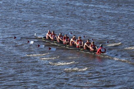 eights: BOSTON - OCTOBER 22, 2016: Marist races in the Head of Charles Regatta Mens College Eights