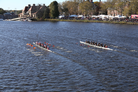 eights: BOSTON - OCTOBER 22, 2016: Laga (left) UMass Amherst (right) races in the Head of Charles Regatta Mens College Eights. Laga won the race. Editorial