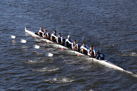 eights: BOSTON - OCTOBER 22, 2016: UC San Diego races in the Head of Charles Regatta Mens College Eights