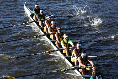 eights: BOSTON - OCTOBER 22, 2016: vermont university races in the Head of Charles Regatta Mens College Eights Editorial