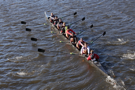 BOSTON - OCTOBER 22, 2016: UGA races in the Head of Charles Regatta Mens College Eights
