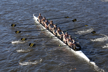 BOSTON - OCTOBER 22, 2016: University of Colorado Boulder races in the Head of Charles Regatta Mens College Eights