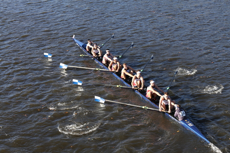BOSTON - OCTOBER 22, 2016: Connecticut University races in the Head of Charles Regatta Mens College Eights Editorial