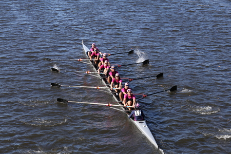 eights: BOSTON - OCTOBER 23, 2016: Saugatuck Crew races in the Head of Charles Regatta Mens College Eights [PUBLIC RACE]