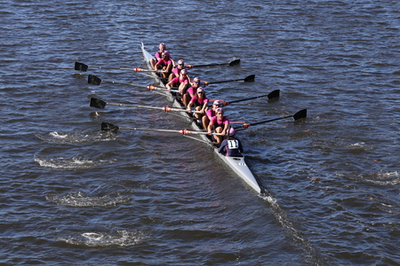 BOSTON - OCTOBER 23, 2016: Saugatuck Crew races in the Head of Charles Regatta Mens College Eights [PUBLIC RACE]