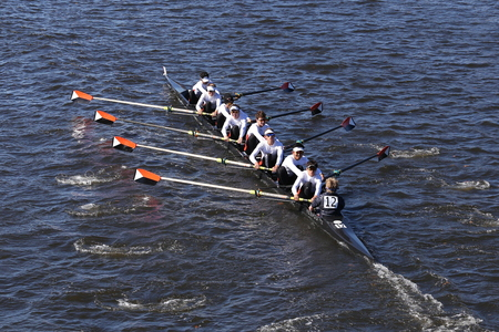 BOSTON - OCTOBER 23, 2016: Winter Park Crew races in the Head of Charles Regatta Mens College Eights [PUBLIC RACE]