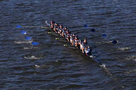 BOSTON - OCTOBER 23, 2016: Mercer races in the Head of Charles Regatta Mens College Eights [PUBLIC RACE]