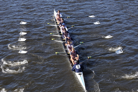 eights: BOSTON - OCTOBER 23, 2016: Sarasota Crew races in the Head of Youth Regatta Mens College Eights [PUBLIC RACE]