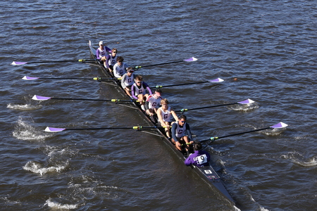 BOSTON - OCTOBER 23, 2016: Gonzaga  races in the Head of Charles Regatta Mens Youth Eights [PUBLIC RACE] Editorial