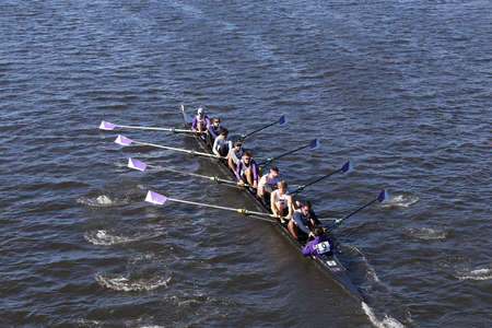 eights: BOSTON - OCTOBER 23, 2016: Gonzaga  races in the Head of Charles Regatta Mens Youth Eights [PUBLIC RACE] Editorial