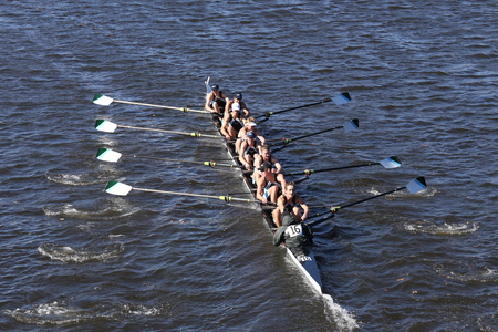 BOSTON - OCTOBER 23, 2016: Green Lake Crew races in the Head of Charles Regatta Mens Youth Eights Editorial
