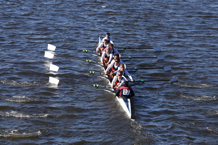 wimbledon: BOSTON - OCTOBER 23, 2016: Kings Wimbledon Crew races in the Head of Charles Regatta Mens Youth Eights