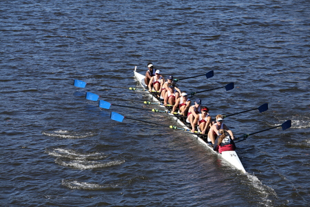 BOSTON - OCTOBER 23, 2016: Atlanta Junior Crew races in the Head of Charles Regatta Mens Youth Eights