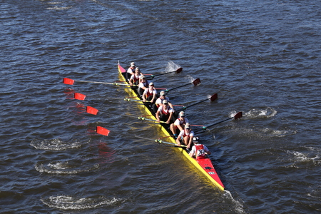BOSTON - OCTOBER 23, 2016: Chaminade Crew races in the Head of Charles Regatta Mens Youth Eights