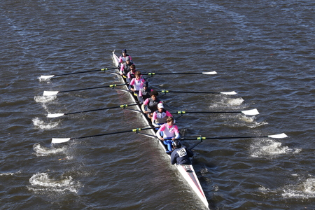 eights: BOSTON - OCTOBER 23, 2016: Jesuit College Prep of Dallas Crew races in the Head of Charles Regatta Mens Youth Eights Editorial