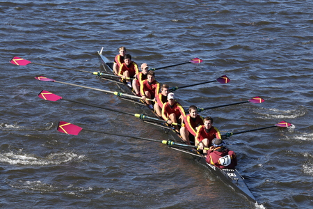 BOSTON - OCTOBER 23, 2016: Loyola Academy Crew races in the Head of Charles Regatta Mens Youth Eights
