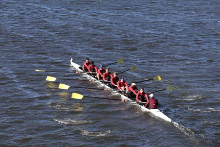 BOSTON - OCTOBER 23, 2016: The Haverford School Crew races in the Head of Charles Regatta Mens Youth Eights