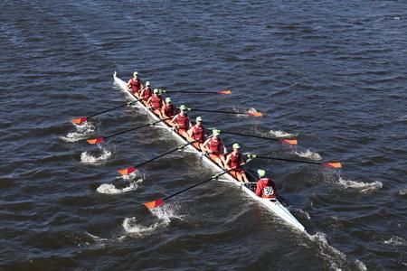 BOSTON - OCTOBER 23, 2016: Wayland-Weston  Crew races in the Head of Charles Regatta Men's Youth Eights 報道画像