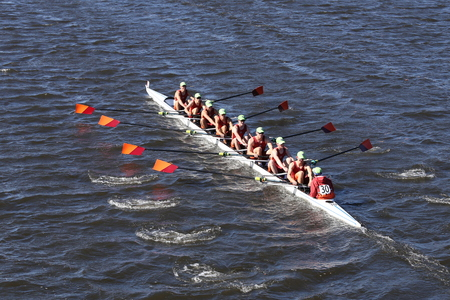 eights: BOSTON - OCTOBER 23, 2016: Wayland-Weston  Crew races in the Head of Charles Regatta Mens Youth Eights Editorial