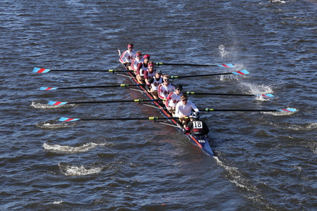 BOSTON - OCTOBER 23, 2016: Boston College High School Crew races in the Head of Charles Regatta Men's Youth Eights