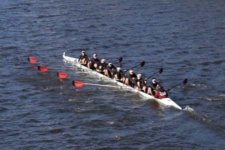 BOSTON - OCTOBER 23, 2016: Radnor Crew races in the Head of Charles Regatta Mens Youth Eights