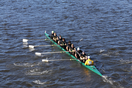 eights: BOSTON - OCTOBER 23, 2016: St. Edward  Crew races in the Head of Charles Regatta Mens Youth Eights