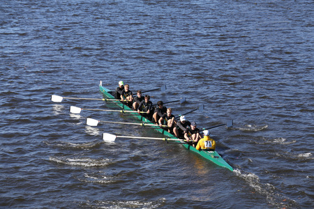 BOSTON - OCTOBER 23, 2016: St. Edward  Crew races in the Head of Charles Regatta Mens Youth Eights