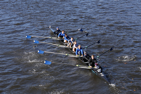 BOSTON - OCTOBER 23, 2016: Shaker Crew races in the Head of Charles Regatta Mens Youth Eights Editorial
