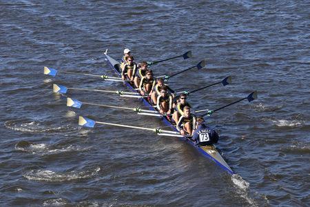 BOSTON - OCTOBER 23, 2016: La Salle  Crew races in the Head of Charles Regatta Men's Youth Eights