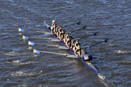eights: BOSTON - OCTOBER 23, 2016: La Salle  Crew races in the Head of Charles Regatta Mens Youth Eights