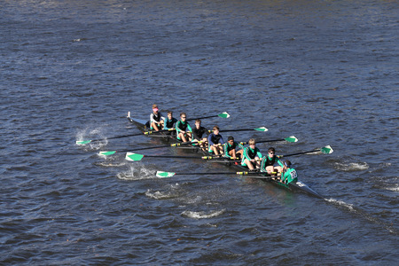 BOSTON - OCTOBER 23, 2016: Wilson High School  Crew races in the Head of Charles Regatta Mens Youth Eights