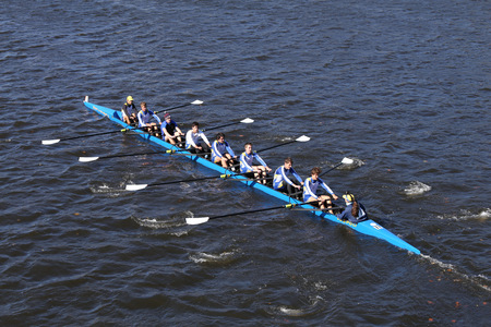 BOSTON - OCTOBER 23, 2016: Pelham CRA  Crew races in the Head of Charles Regatta Mens Youth Eights