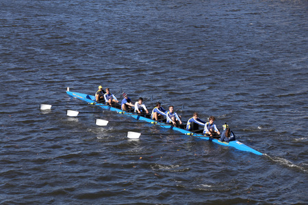 BOSTON - OCTOBER 23, 2016: Pelham CRA  Crew races in the Head of Charles Regatta Mens Youth Eights