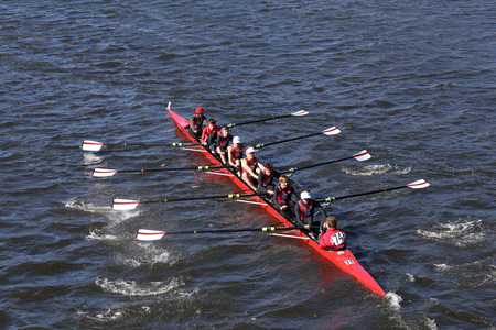 BOSTON - OCTOBER 23, 2016: Shaker Heights  Crew races in the Head of Charles Regatta Mens Youth Eights