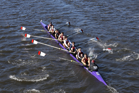 BOSTON - OCTOBER 23, 2016: ZZZ Bedford  races in the Head of Charles Regatta Mens Youth Eights