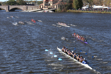 BOSTON - OCTOBER 23, 2016: Bromfield Acton Boxborough (bottom) Bedford(middle)  St andrews(top)  Crew races in the Head of Charles Regatta Mens Youth Eights