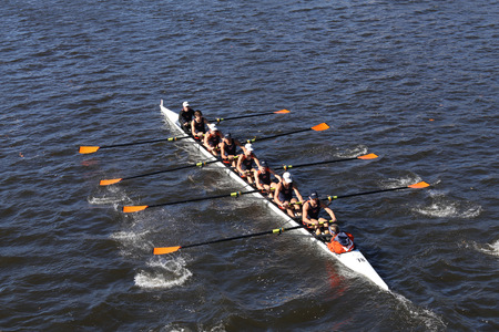 BOSTON - OCTOBER 23, 2016: Triangle Rowing  Crew races in the Head of Charles Regatta Mens Youth Eights