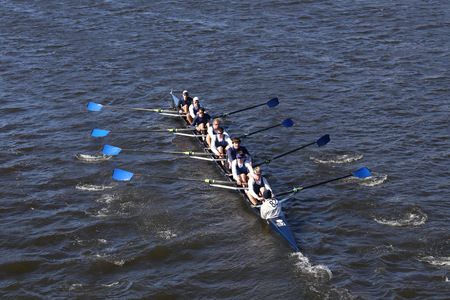 BOSTON - OCTOBER 23, 2016: Milwaukee  Crew races in the Head of Charles Regatta Mens Youth Eights