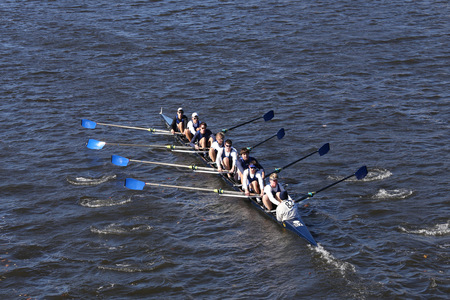 eights: BOSTON - OCTOBER 23, 2016: Milwaukee  Crew races in the Head of Charles Regatta Mens Youth Eights