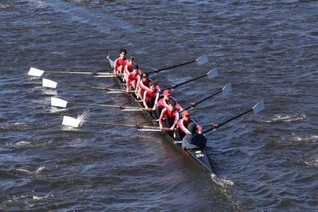eights: BOSTON - OCTOBER 23, 2016: Neponset Rowing Club  Crew races in the Head of Charles Regatta Mens Youth Eights Editorial