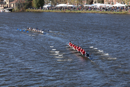 BOSTON - OCTOBER 23, 2016: Milwaukee(left) Neponset Rowing Club(right)  Crew races in the Head of Charles Regatta Mens Youth Eights